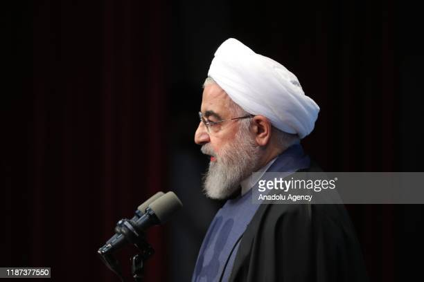 """Iran's President Hassan Rouhani delivers a speech during an event held within """"National Student Day"""" at Farhangian University in Tehran, Iran on..."""