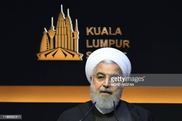 Iran's President Hassan Rouhani delivers his speech during the opening ceremony of the Kuala Lumpur Summit 2019 in Kuala Lumpur on December 19 2019