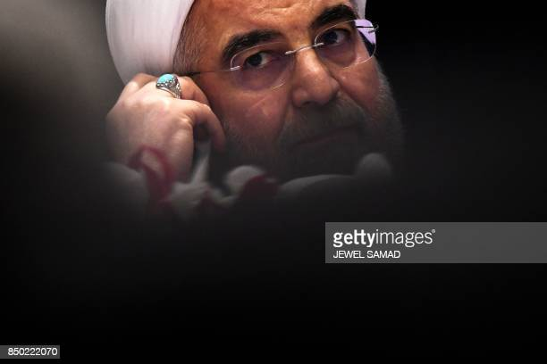 Iran's President Hassan Rouhani listens to a question during a press conference in New York on September 20 on the sideline of the 72nd Session of...