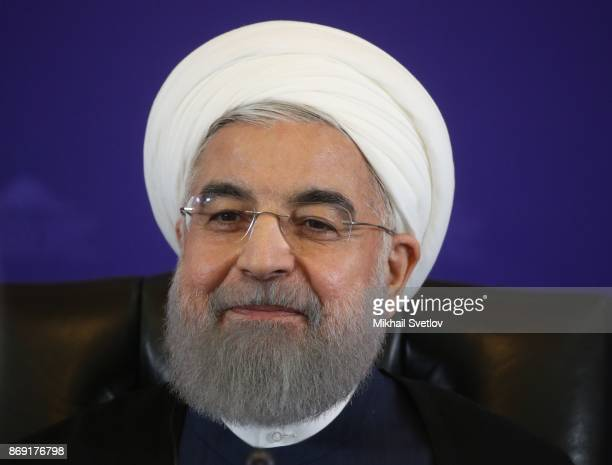 Iran's President Hassan Rouhani speeches during a RussianAzeriIranian meeting in Tehran Iran November2017 Russian President is having a oneday visit...