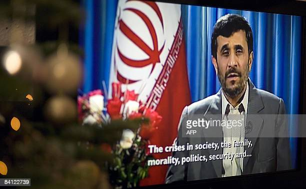 Iran's President Mahmoud Ahmedinejad delivers Channel 4's Alternative Christmas Message to British audiences London on December 25 2008 The speech in...