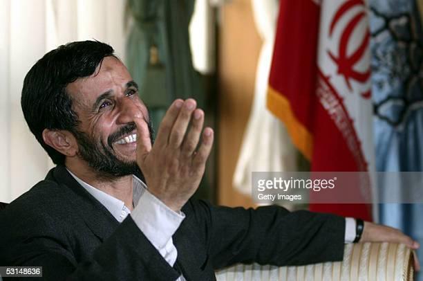 Iran's Presidentelect Mahmoud Ahmadinejad waves from his office on June 25 2005 in Tehran Iran Ahmadinejad the conservative mayor of Tehran won the...