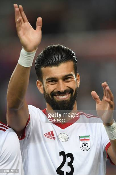 Iran's Ramin Rezaeian looks on prior to the International friendly football match between Turkey and Iran at Basaksehir Fatih Terim stadium in...