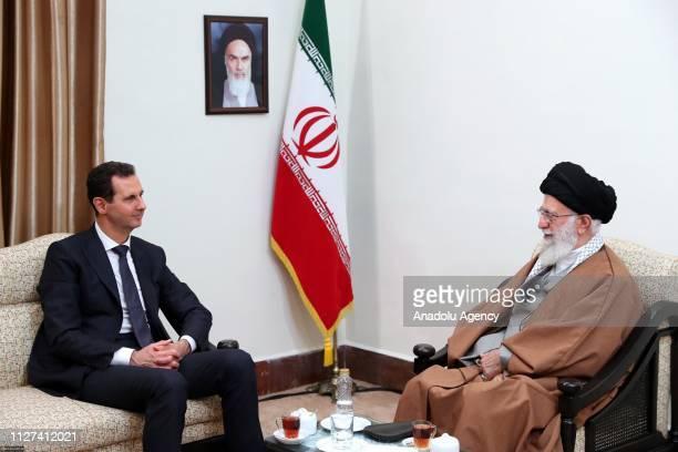 Iran's religious leader Ayatollah Ali Khamenei meets Syrian leader Bashar alAssad in Tehran Iran on February 25 2019