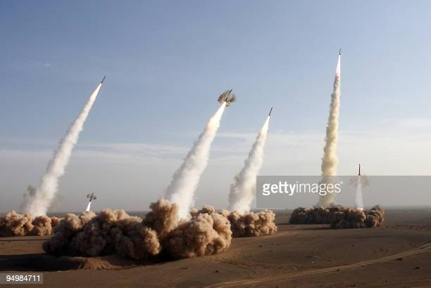 Iran's Revolutionary Guards fire test missiles during the first phase of military manoeuvres in the central desert outside the holy city of Qom 02...