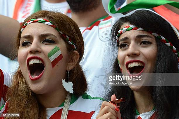 Iran's soccer fans wait for the start of the 2014 FIFA World Cup Group F soccer match between BosniaHerzegovina and Iran at the Arena Fonte Nova in...
