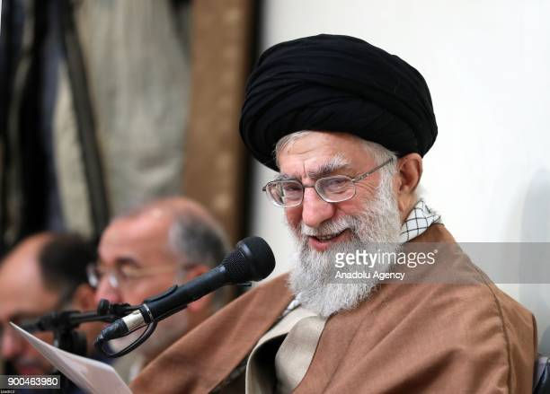 Iran's Supreme Leader Ayatollah Ali Khamanei delivers a speech during his meeting with families of martyr's in Tehran Iran on January 2 2018
