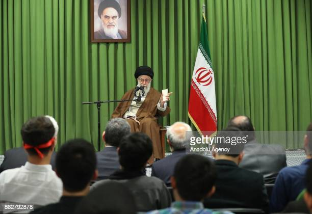 Iran's Supreme Leader Ayatollah Ali Khamanei speaks during his meeting with students in Tehran Iran on October 18 2017