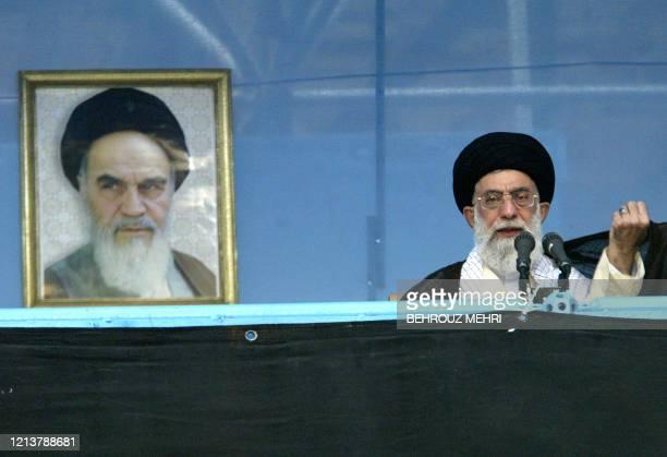 Iran's Supreme Leader Ayatollah Ali Khamenei addresses Iranians during the commemoration of the 16th anniversary of the death of Ayatollah Ruhollah...
