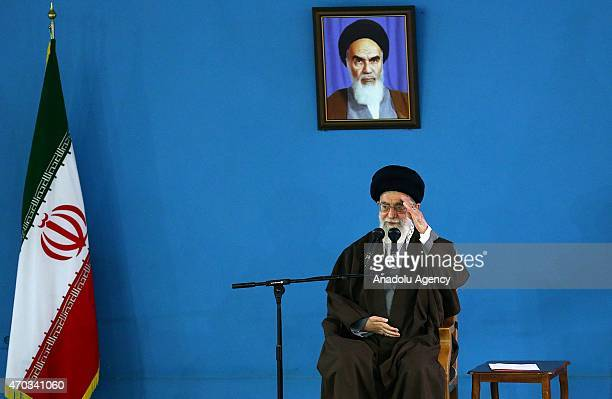 Iran's Supreme Leader Ayatollah Ali Khamenei addresses to military personnel and family of martyrs during the Iran Army Day in Tehran Iran on April...