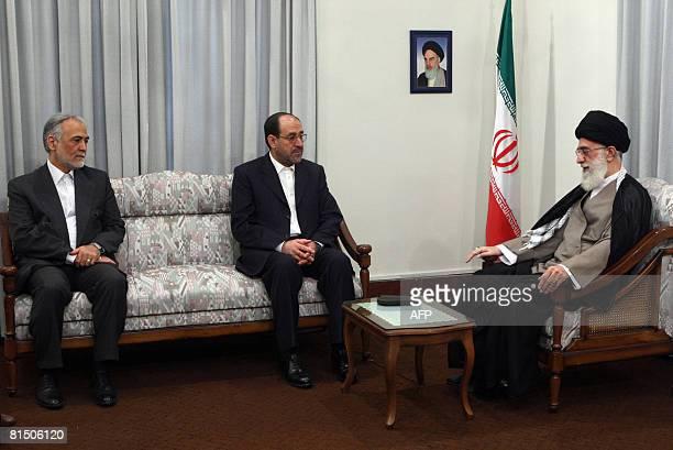 Iran's supreme leader Ayatollah Ali Khamenei and First VicePresident Parviz Davoudi meet with Iraqi Prime Minister Nuri alMaliki in Tehran on June 9...