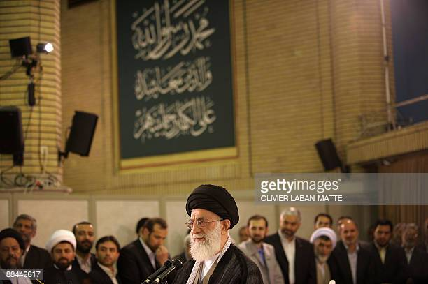 Iran's Supreme Leader Ayatollah Ali Khamenei delivers a speech after casting his vote to elect a new president at his office in Tehran on June 12...