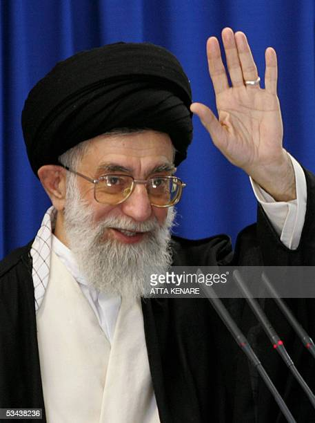Iran's supreme leader Ayatollah Ali Khamenei delivers the sermon of the weekly Friday prayers with a portrait of the late founder of the Islamic...