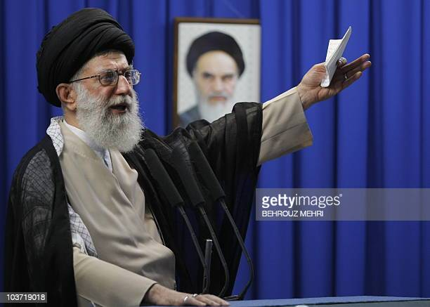 Iran's supreme leader Ayatollah Ali Khamenei delivers the weekly Friday prayer sermonn at Tehran University on June 19 2009 Khamenei called for an...
