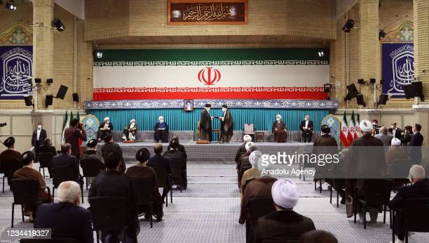 Iran's Supreme Leader Ayatollah Ali Khamenei gives his official seal of approval to Iran's newly elected President Ebrahim Raisi Ebrahim Raisi in an...