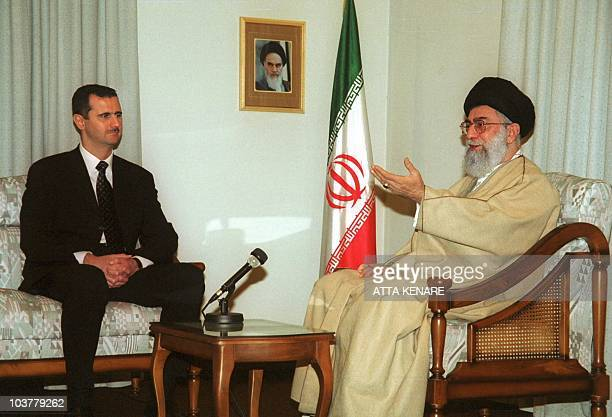 Iran's supreme leader Ayatollah Ali Khamenei meets Syrian President Bashar alAssad in Tehran 25 January 2001 Assad on his first visit to the Islamic...