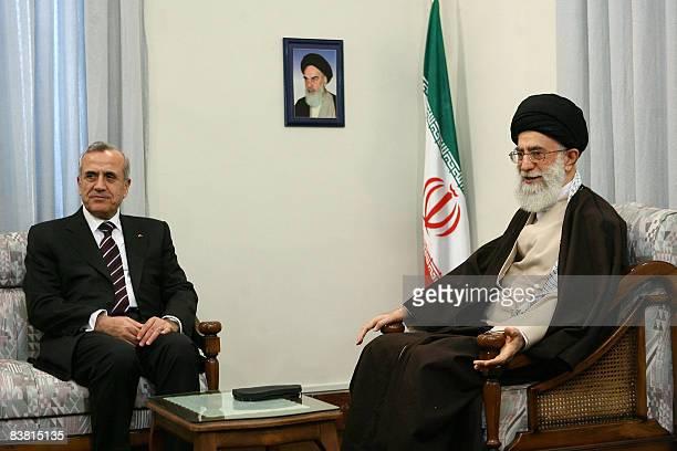 Iran's supreme leader Ayatollah Ali Khamenei meets with Lebanese President Michel Sleiman in Tehran on November 25 2008 Khamenei called on Lebanese...