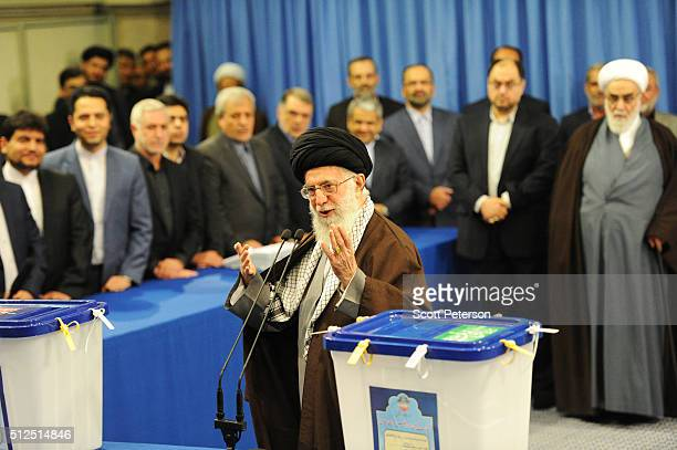 Iran's Supreme Leader Ayatollah Seyyed Ali Khamenei casts the first ballot in key elections for Parliament and the Assembly of Experts in Tehran,...