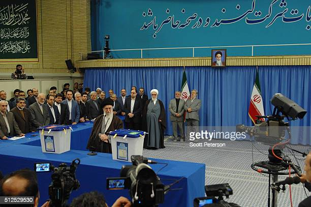 Iran's Supreme Leader Ayatollah Seyyed Ali Khamenei casts the first ballot in key elections for Parliament and the Assembly of Experts in Tehran Iran...