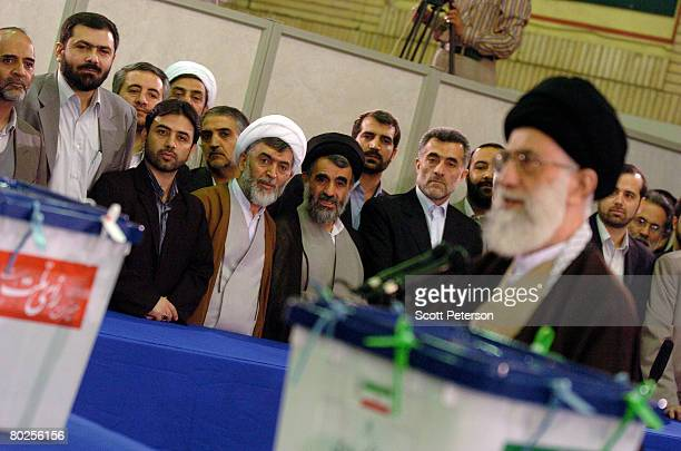 Iran's supreme religious leader Ayatollah Sayed Ali Khamenei speaks after casting his ballot in elections for the 8th majlis or parliament March 14...