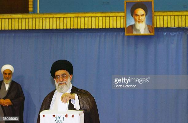 Iran's surpreme religious leader Ayatollah Sayed Ali Khamenei casts his ballot on June 17 2005 in Tehran Iran Disillusioned with eight years of...