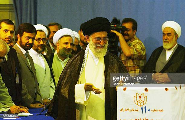 Iran's surpreme religious leader Ayatollah Sayed Ali Khamenei prepares to voteon June 17 2005 in Tehran Iran Disillusioned with eight years of...