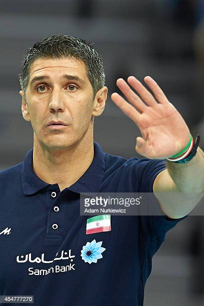Iran's trainer coach Slobodan Kovac gestures during the FIVB World Championships match between Belgium and Iran at Cracow Arena on September 6, 2014...
