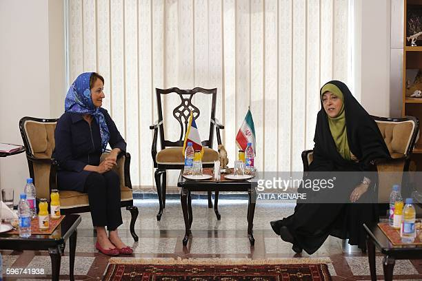 Iran's Vice President and Head of Environmental Protection Organization Masoumeh Ebtekar meets with French Ecology Minister Segolene Royal in Tehran...