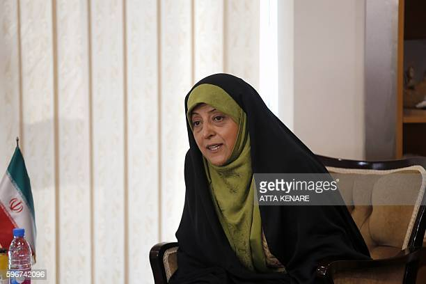 Iran's Vice President and Head of Environmental Protection Organization Masoumeh Ebtekar meets with French Ecology Minister in Tehran on August 28...