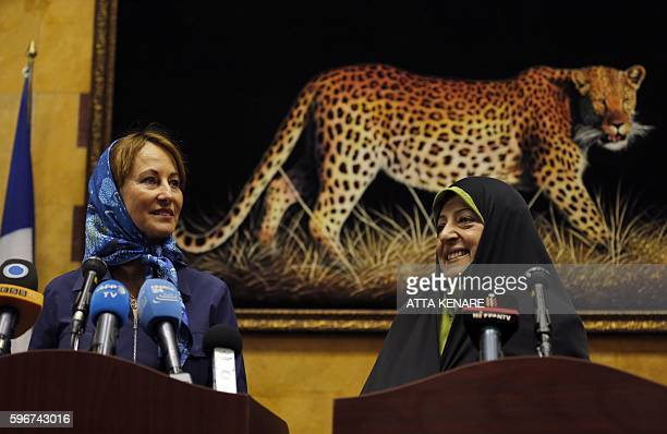 Iran's Vice President and Head of Environmental Protection Organization Masoumeh Ebtekar attends a joint press conference with French Ecology...