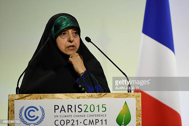 Iran's Vice President Masoumeh Ebtekar delivers a speech during the opening day of the World Climate Change Conference 2015 on November 30 2015 at Le...