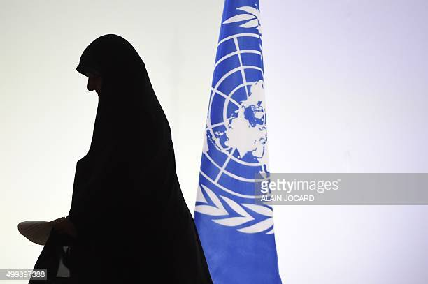 TOPSHOT Iran's Vice President Masoumeh Ebtekar leaves after delivering a speech during the opening day of the World Climate Change Conference 2015 on...
