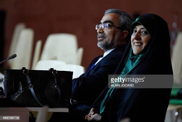 Iran's Vice President Masoumeh Ebtekar listens to speeches during the opening day of the World Climate Change Conference 2015 on November 30 2015 at...