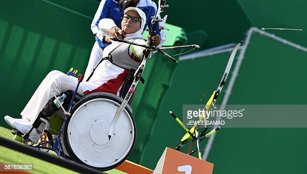 Iran's Zahra Nemati shoots an arrow during the Rio 2016 Olympic Games women's competition at the Sambodromo archery venue in Rio de Janeiro Brazil on...