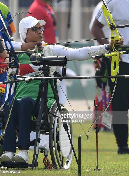 Iran's Zahra Nemati takes part in the recurve mixed team elimination round archery event at the 2018 Asian Games in Jakarta on August 24 2018