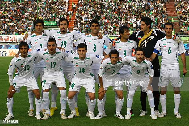 Iran's Zobahan club players pose for a group picture before their AFC Champions League round of 16 football match against Mes Kerman in Isfahan on...