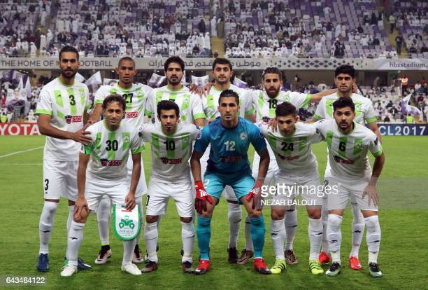Iran's Zobahan first eleven pose for a team photo prior to the AFC Asian Champions League Group C football match between UAE's AlAin club and Iran's...