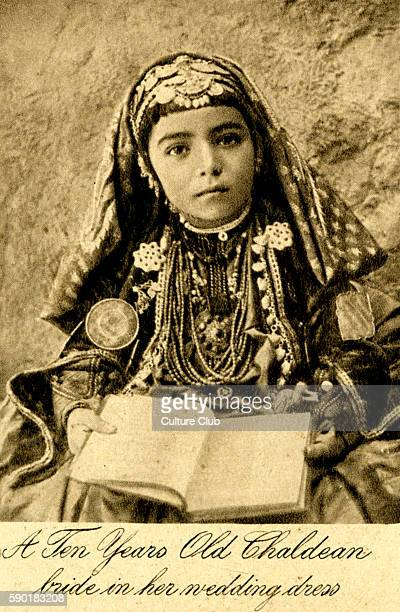 Iraq A ten year old Chaldean bride in her wedding dress Photo taken in 1920s after creation of Iraq