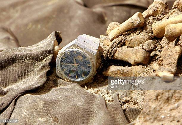 A wrist watch is seen on a human skeleton amongst other human skeletons and clothes from persons allegedly executed during the regime of former...