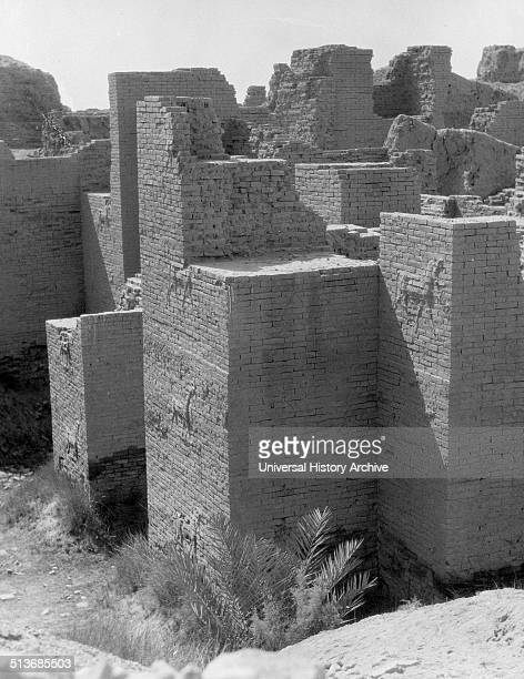Iraq Babylon view of the crumbling ruins The Ishtar gate showing animals embossed on brick walls