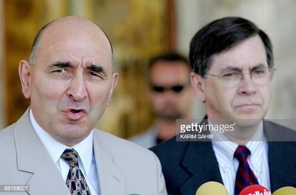British ambassador to Iraq William Batey and US senior diplomat David Satterfield speak to press after meeting Iraqi President Jalal Talabani in...