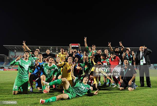 Iraq celebrate at fulltime following the FIFA U20 World Cup Round of 16 match between Iraq and Paraguay at Akdeniz University Stadium on July 03 2013...