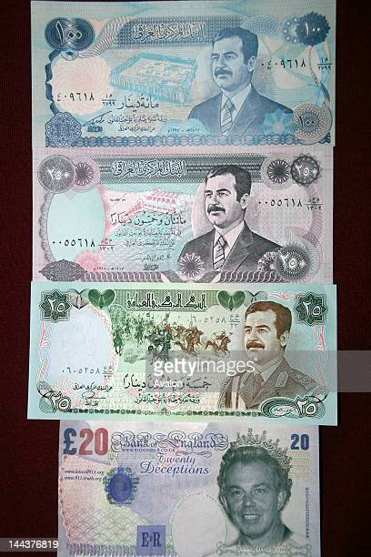 Iraq currency from the time of President Saddam Hussein Saddam Husayn AlTikriti from a London shop that specialises in selling banknotes to...