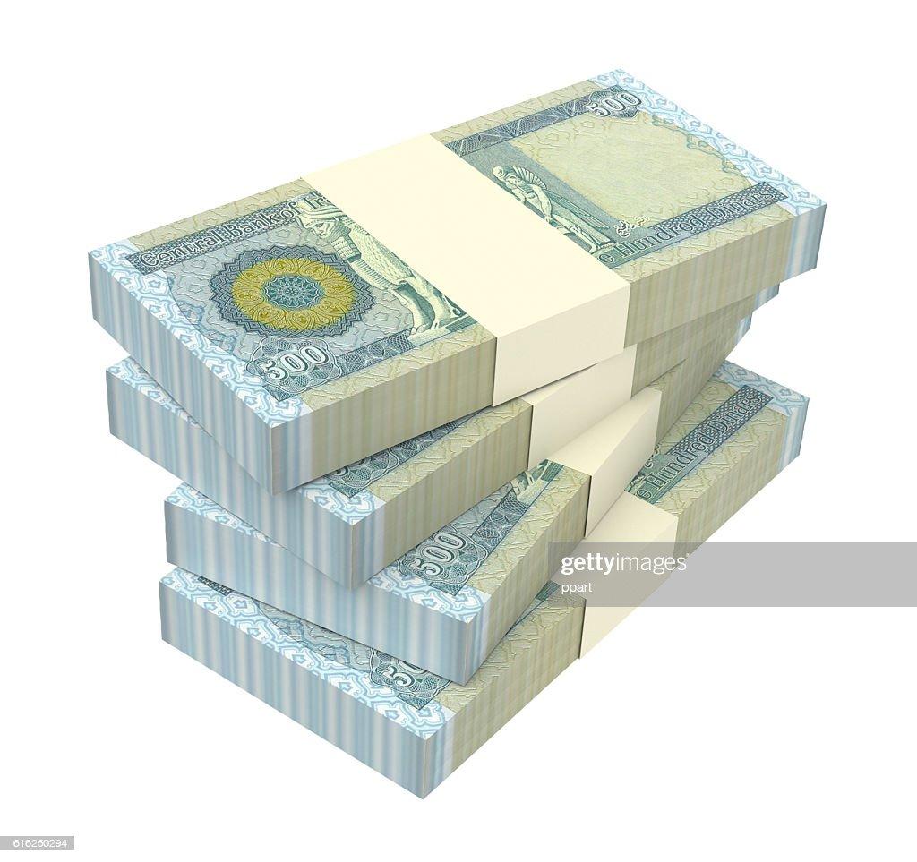 Iraq dinars bills isolated on white background. : Stock Photo