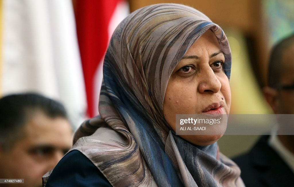 Iraq Health Minister Adila Hammoud speaks during a press conference, regarding the exhumation of the remains of 470 people believed to have been executed by Islamic State (IS) jihadists near Tikrit last year in what is known as the Speicher massacre, at the Ministry building in Baghdad on May 28, 2015. The highest estimate for the number of people killed in the Speicher massacre stands at 1,700. AFP PHOTO \ ALI Al-SAADI