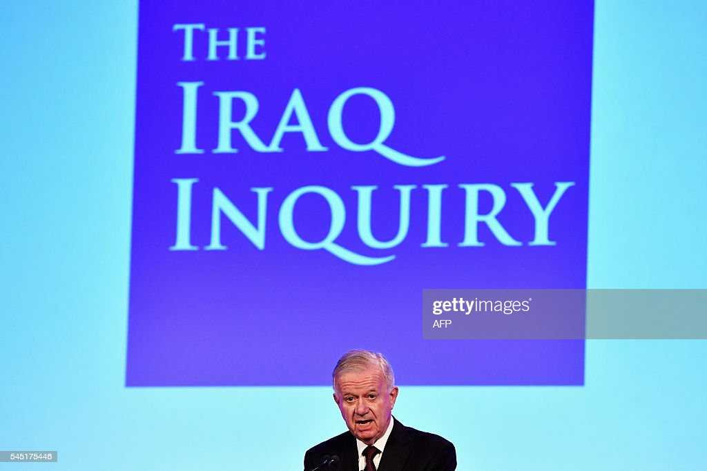 Iraq Inquiry chairman Sir John Chilcot speaks as he comments on the findings of his report, inside the QEII Centre in London on July 6, 2016. Britain's plans for managing the occupation of Iraq following the 2003 invasion were 'wholly inadequate', retired civil servant John Chilcot said on Wednesday as he presented his Iraq War Inquiry report. / AFP / POOL / Jeff J Mitchell