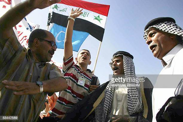 Iraqi Arabs and Turkmen take to the streets in a protest to show their opposition to a federal Iraq in the northern oil-rich city of Kirkuk 20 August...