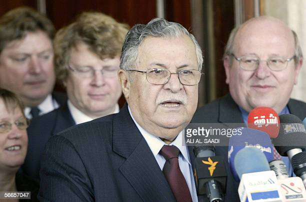 Iraqi outgoing President Jalal Talabani gives a joint press conference with British parliament members from L to R Sandra Osborne Eric Illsley...