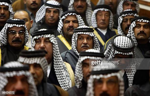 Iraqi tribal leaders attend a political rally for the Shiites' dominant United Iraqi Alliance list at the house of Abdel Aziz alHakim chief of the...