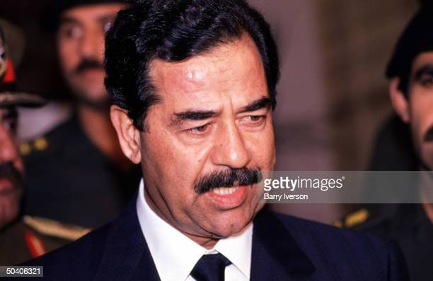 Iraq leader Saddam Hussein during oneday visit to Cairo for talks with Egyptian President Hosni Mubarak